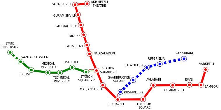نقشه مترو در تفلیس - حمل و نقل عمومی در تفلیس گرجستان